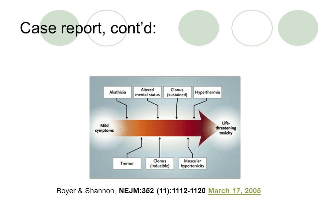 Case report, cont'd: Boyer & Shannon, NEJM:352 (11):1112-1120 March 17, 2005