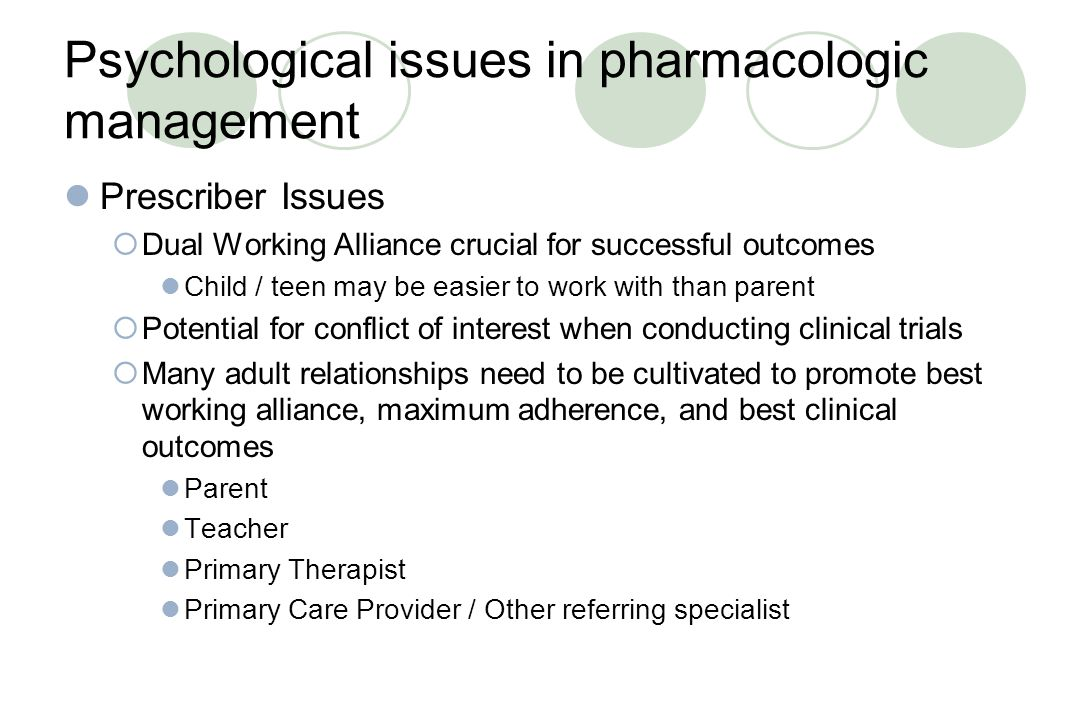 Psychological issues in pharmacologic management