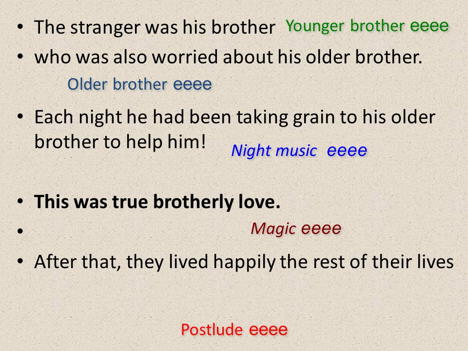 The stranger was his brother