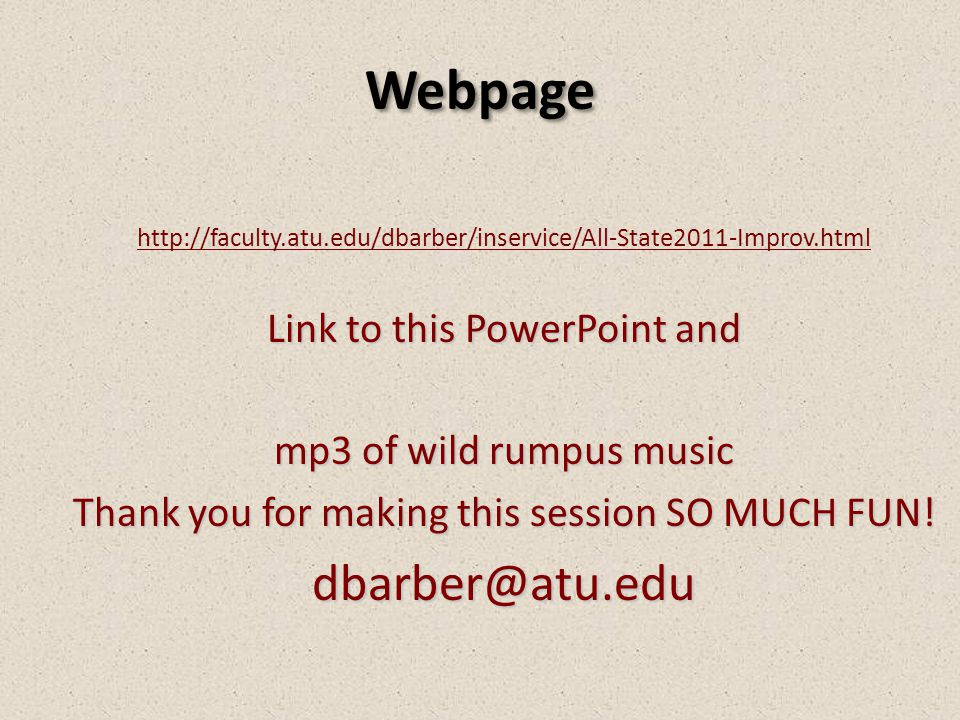 Webpage dbarber@atu.edu Link to this PowerPoint and