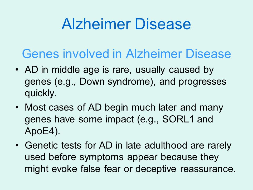 Genes involved in Alzheimer Disease