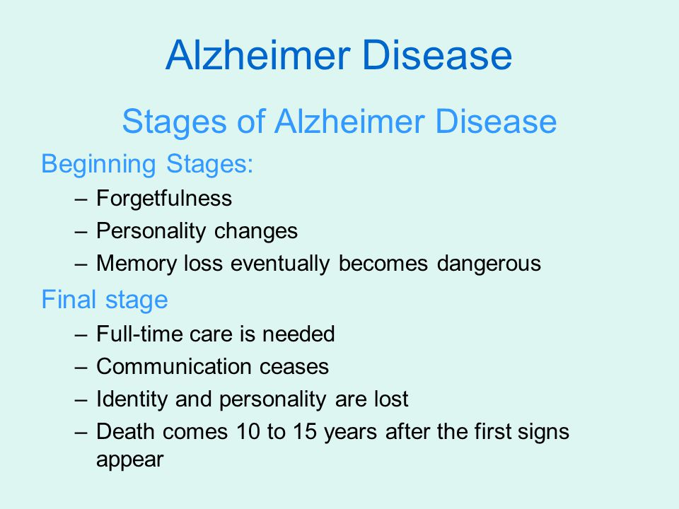 Stages of Alzheimer Disease