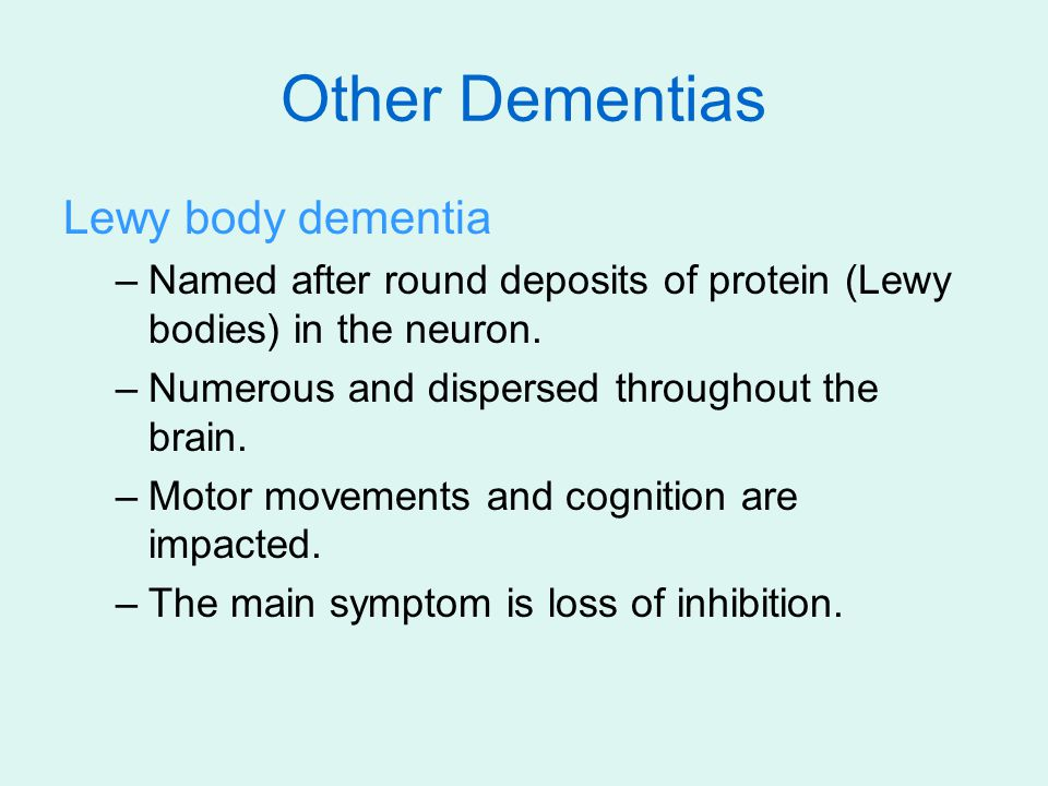Other Dementias Lewy body dementia