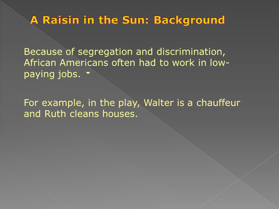 A Raisin in the Sun: Background