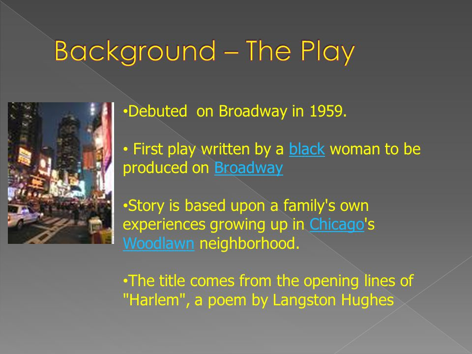 Background – The Play Debuted on Broadway in 1959.