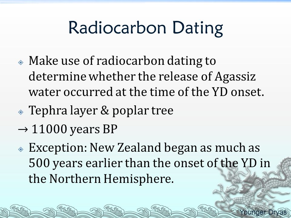 Radiocarbon Dating Make use of radiocarbon dating to determine whether the release of Agassiz water occurred at the time of the YD onset.