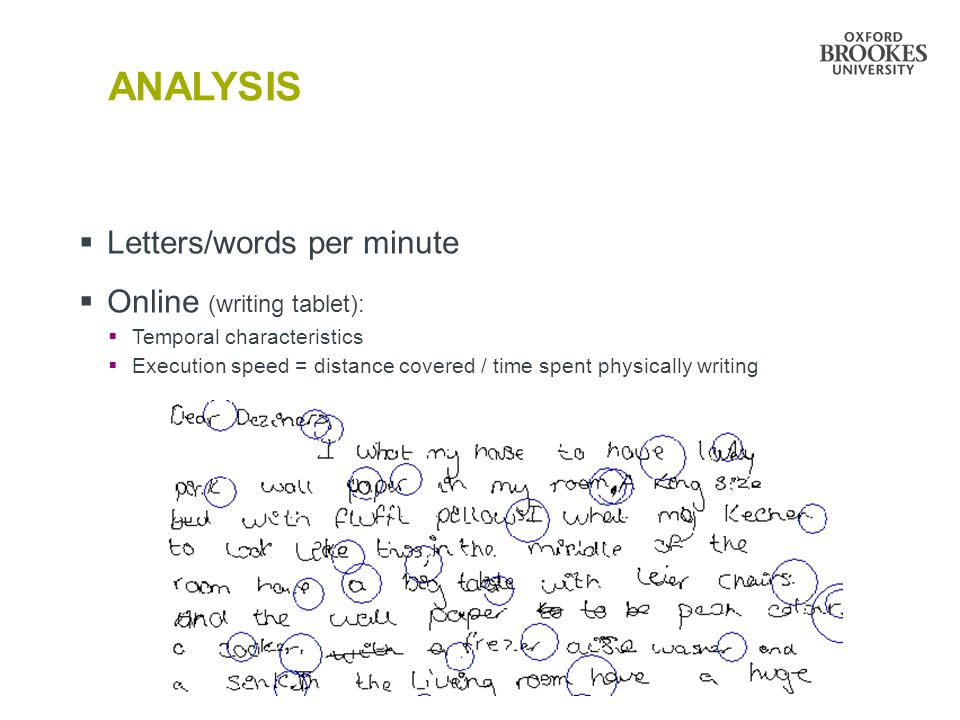 ANALYSIS Letters/words per minute Online (writing tablet):