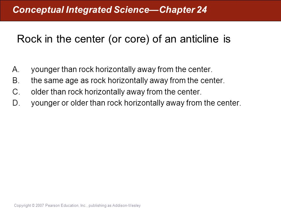 Rock in the center (or core) of an anticline is