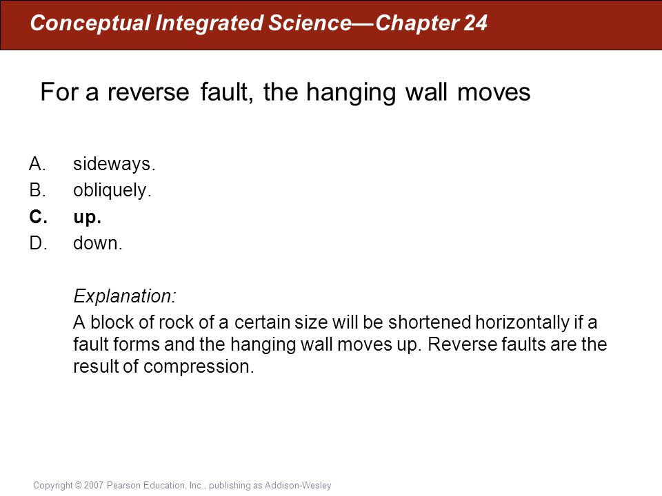 For a reverse fault, the hanging wall moves