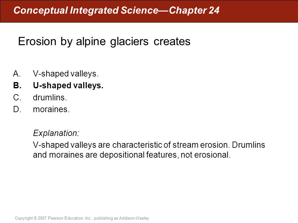 Erosion by alpine glaciers creates