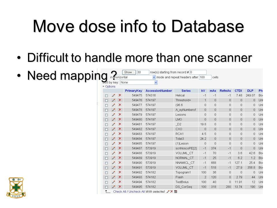Move dose info to Database