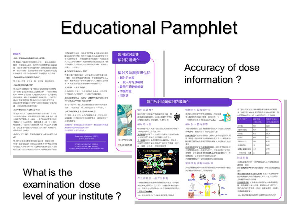 Educational Pamphlet Accuracy of dose information