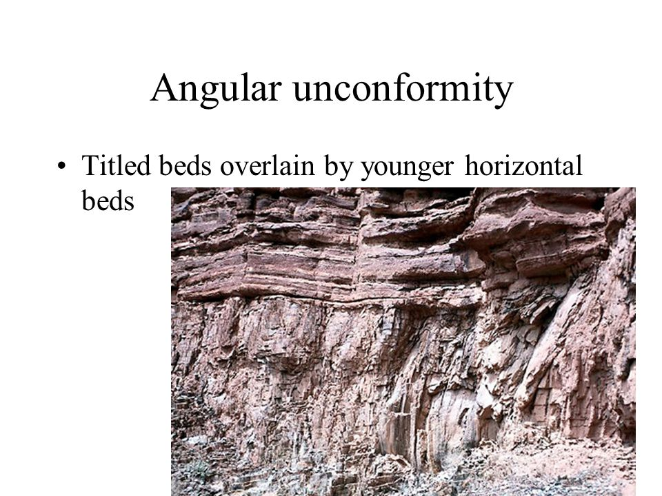 Angular unconformity Titled beds overlain by younger horizontal beds