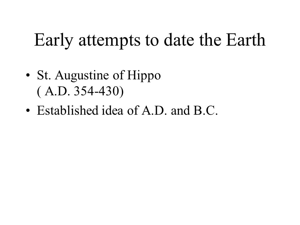 Early attempts to date the Earth