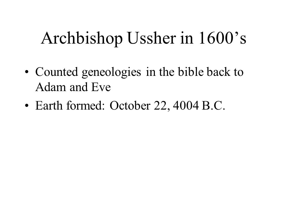 Archbishop Ussher in 1600's
