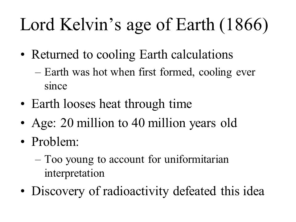 Lord Kelvin's age of Earth (1866)