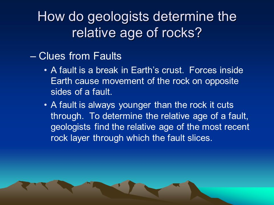 How do geologists determine the relative age of rocks