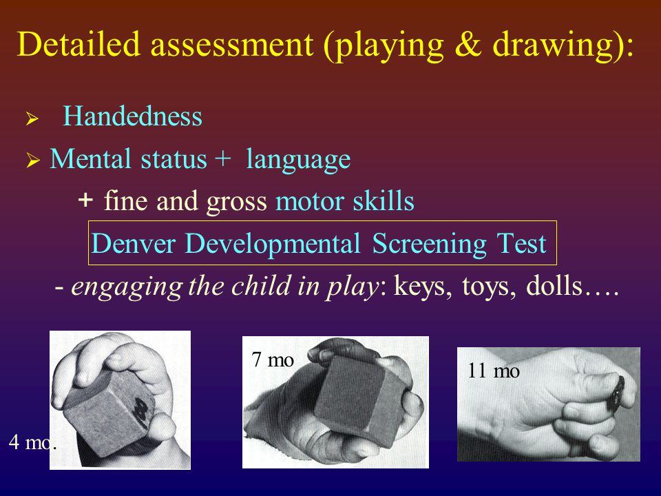 Detailed assessment (playing & drawing):