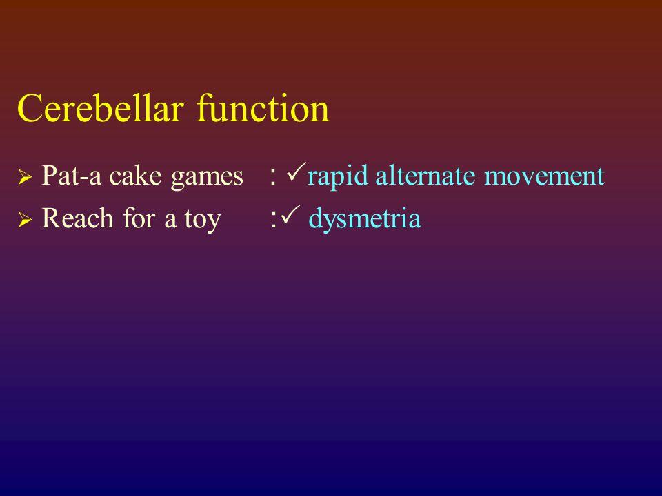 Cerebellar function Pat-a cake games : rapid alternate movement