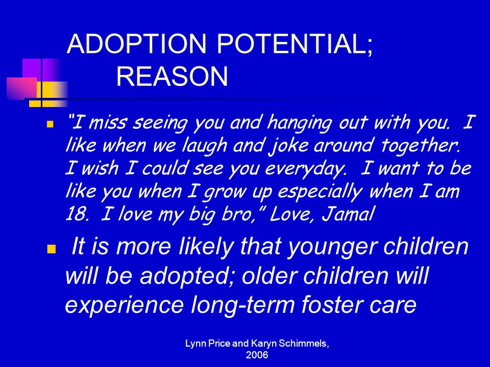 ADOPTION POTENTIAL; REASON
