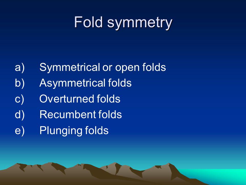 Fold symmetry a) Symmetrical or open folds b) Asymmetrical folds