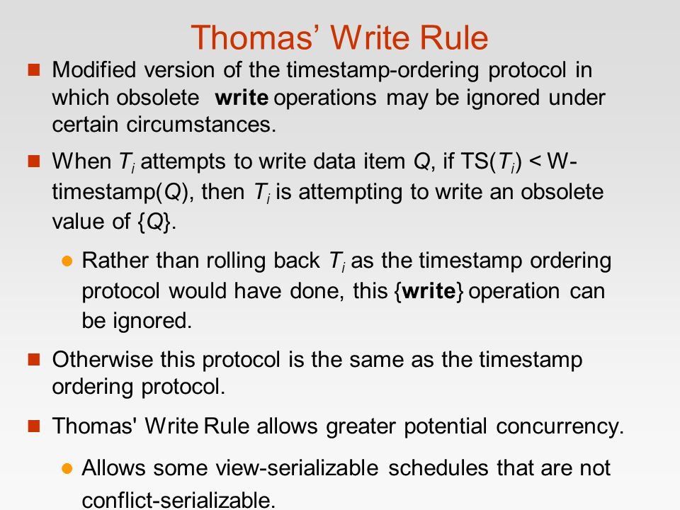 Thomas' Write Rule