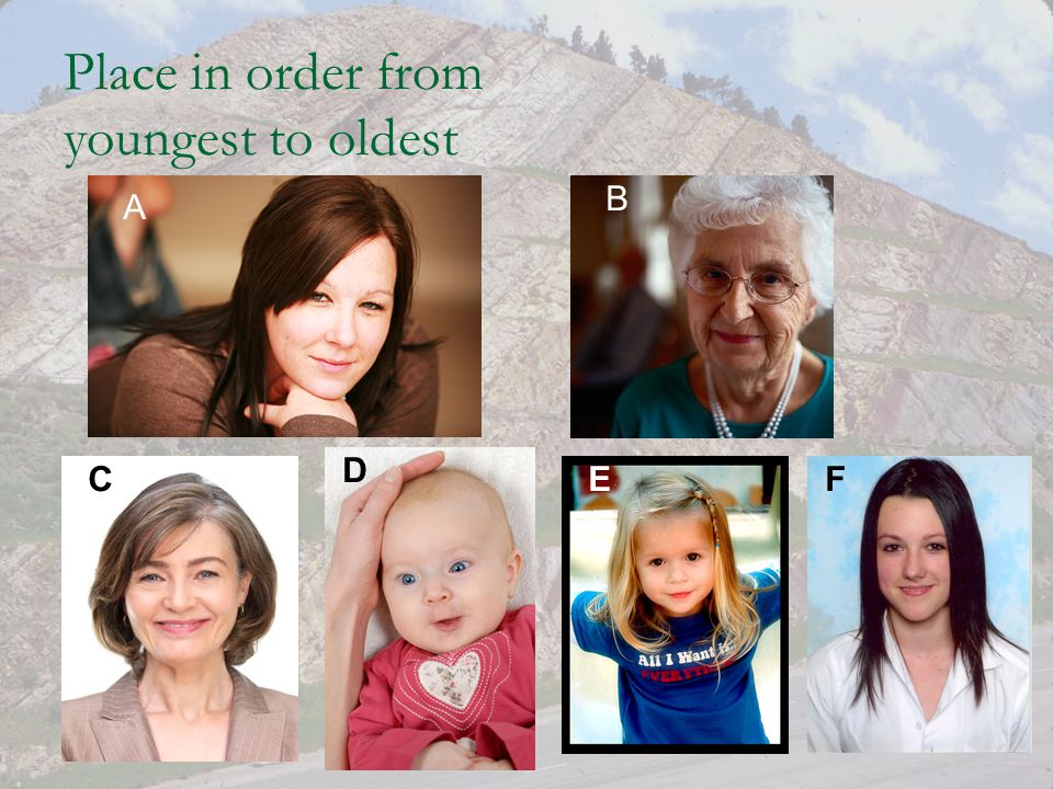 Place in order from youngest to oldest