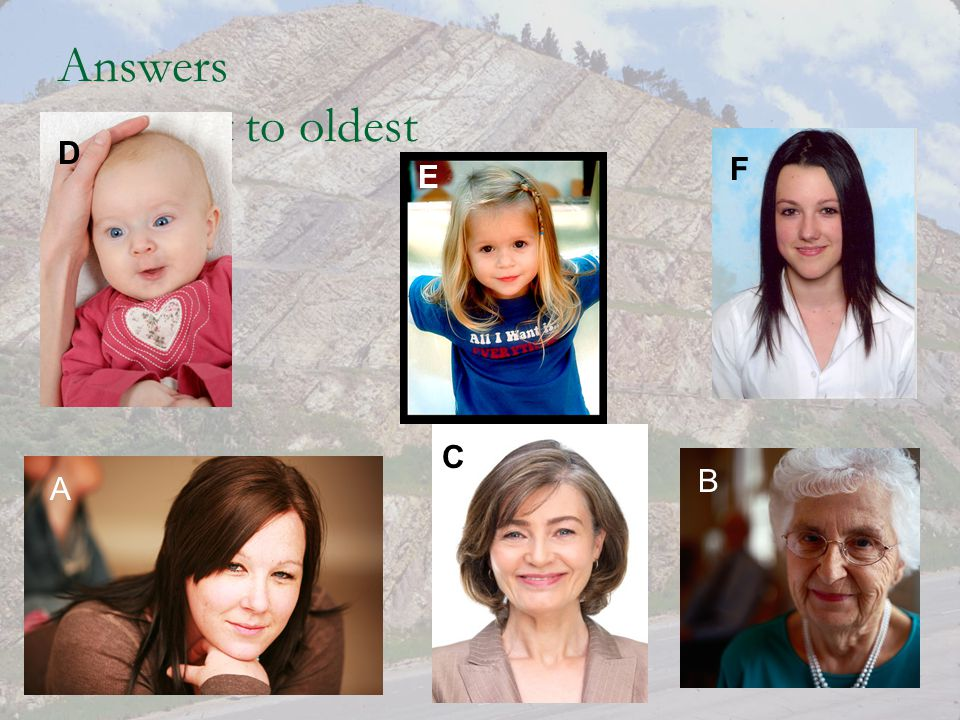 Answers youngest to oldest