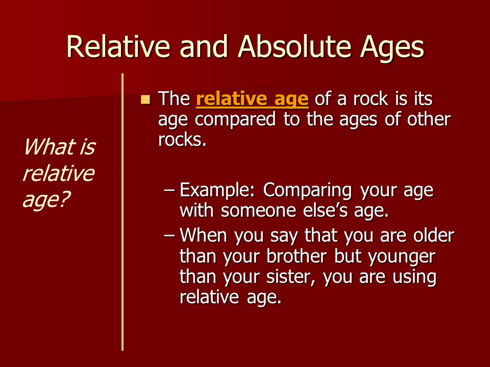 Relative and Absolute Ages