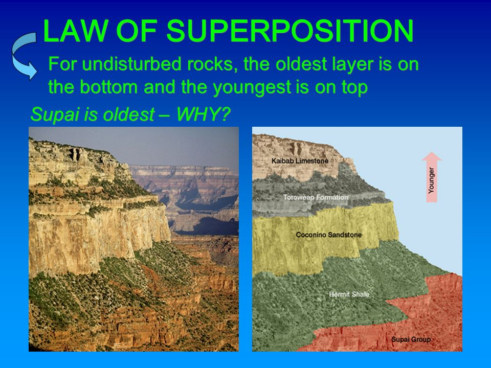 LAW OF SUPERPOSITION For undisturbed rocks, the oldest layer is on the bottom and the youngest is on top.