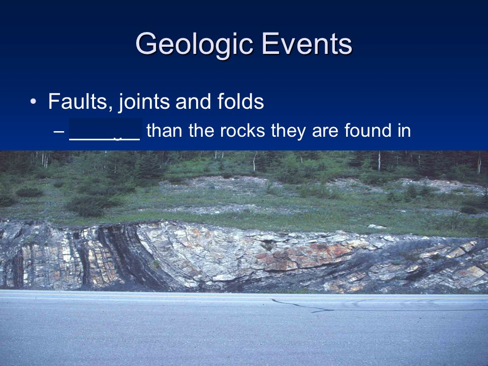 Geologic Events Faults, joints and folds