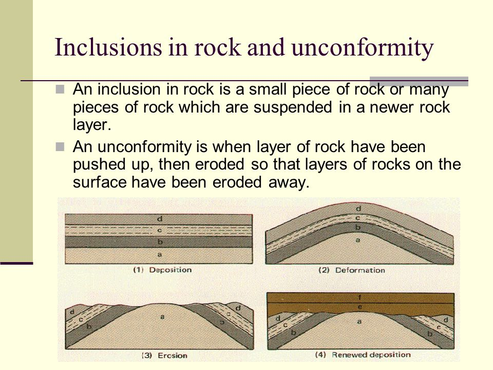 Inclusions in rock and unconformity