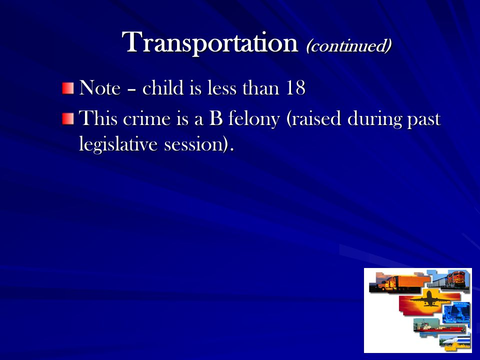 Transportation (continued)