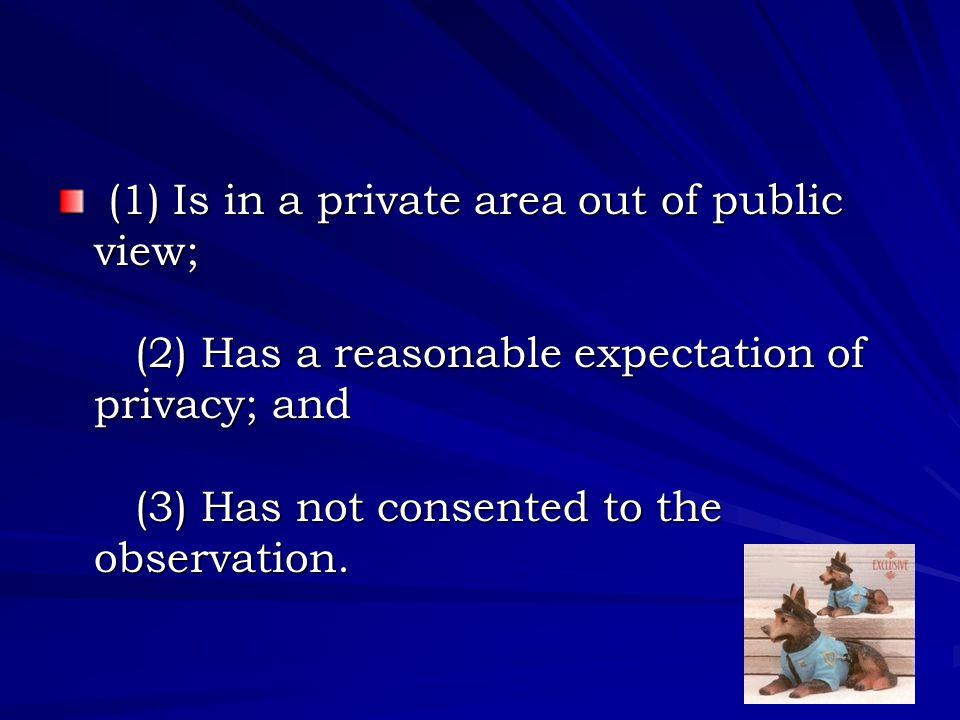 (1) Is in a private area out of public view; (2) Has a reasonable expectation of privacy; and (3) Has not consented to the observation.