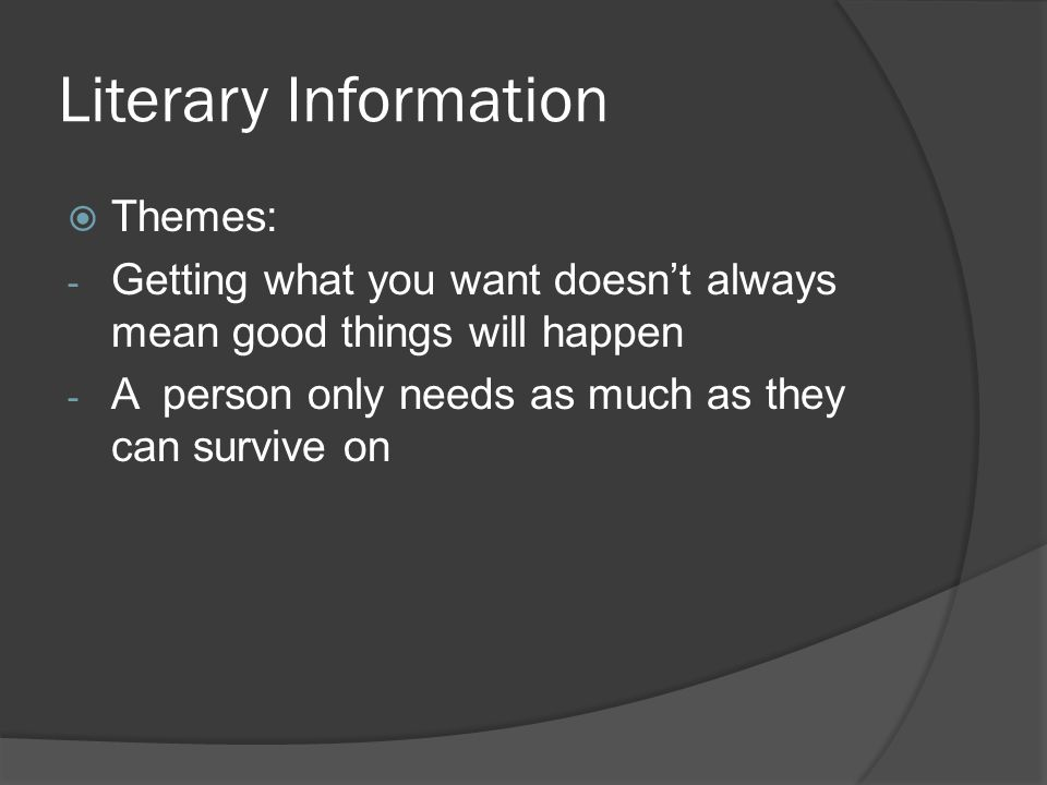 Literary Information Themes: