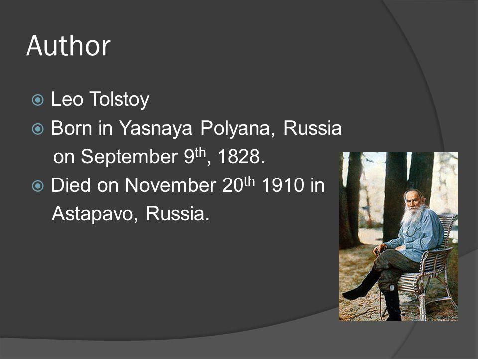 Author Leo Tolstoy Born in Yasnaya Polyana, Russia
