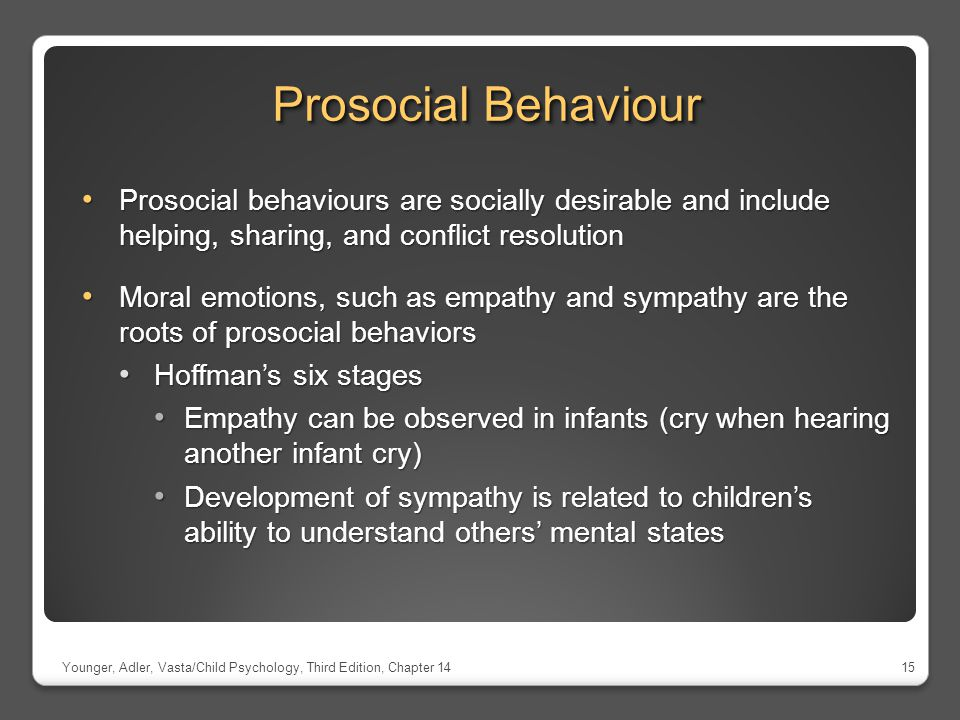 Prosocial Behaviour Prosocial behaviours are socially desirable and include helping, sharing, and conflict resolution.