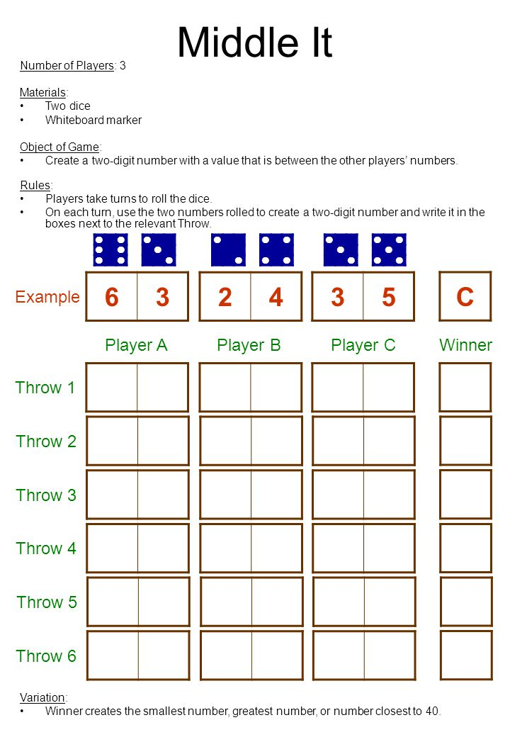 Middle It 6 3 2 4 3 5 C Example Player A Player B Player C Winner