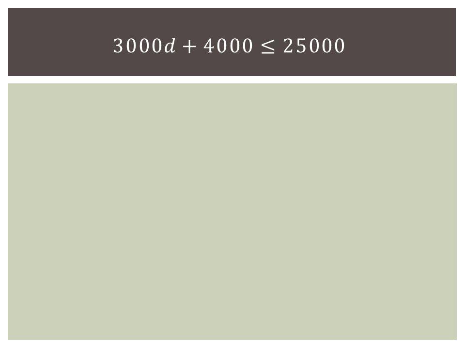 3000𝑑+4000≤25000