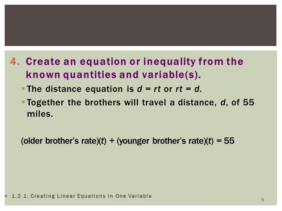 Create an equation or inequality from the known quantities and variable(s).