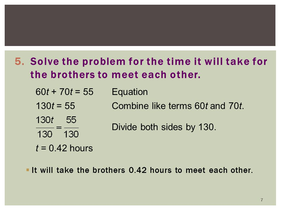 Solve the problem for the time it will take for the brothers to meet each other.