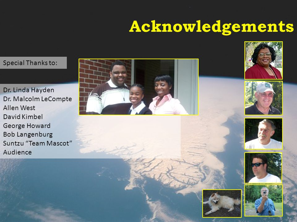 Acknowledgements Special Thanks to: Dr. Linda Hayden