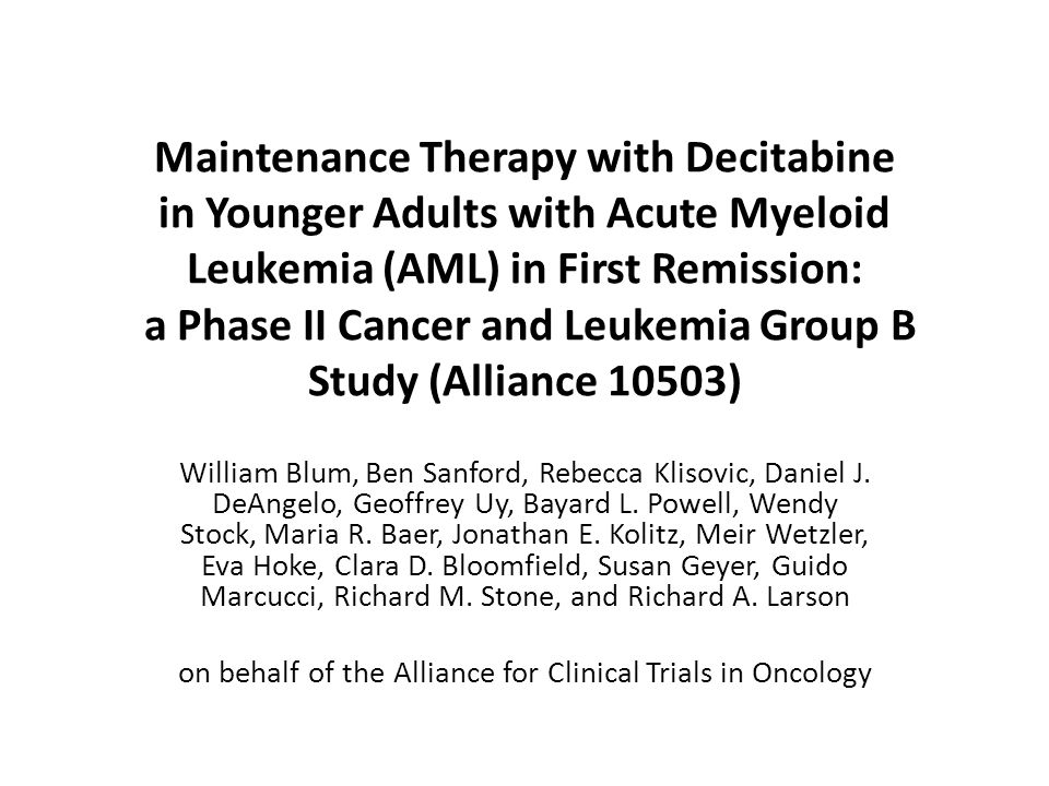 on behalf of the Alliance for Clinical Trials in Oncology