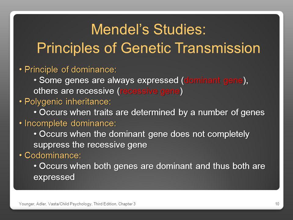Mendel's Studies: Principles of Genetic Transmission