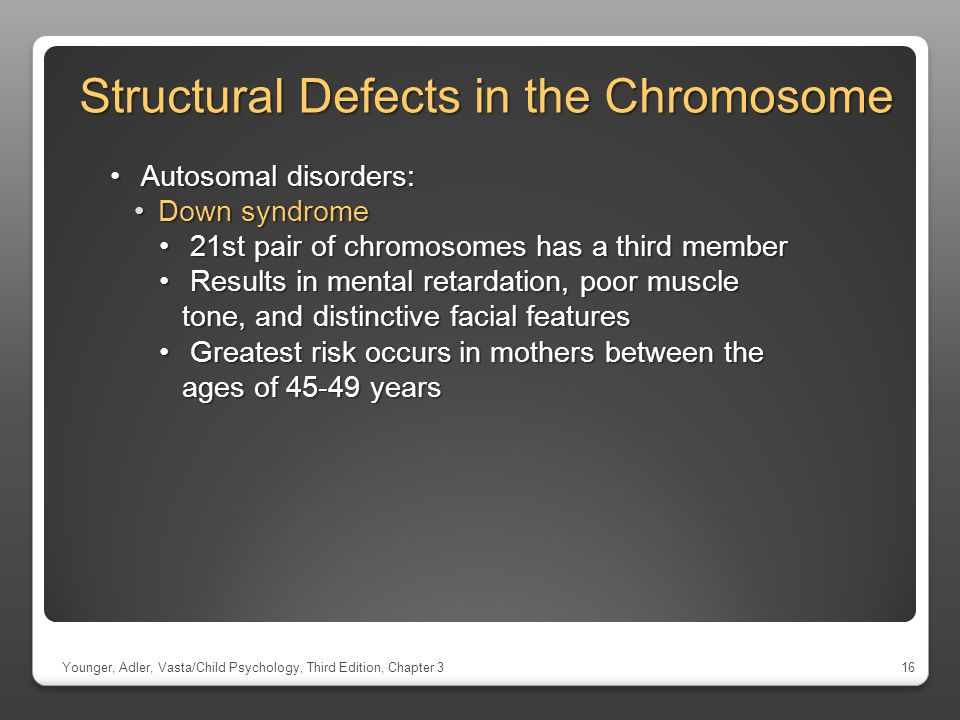 Structural Defects in the Chromosome