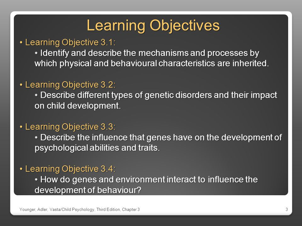 Learning Objectives Learning Objective 3.1: