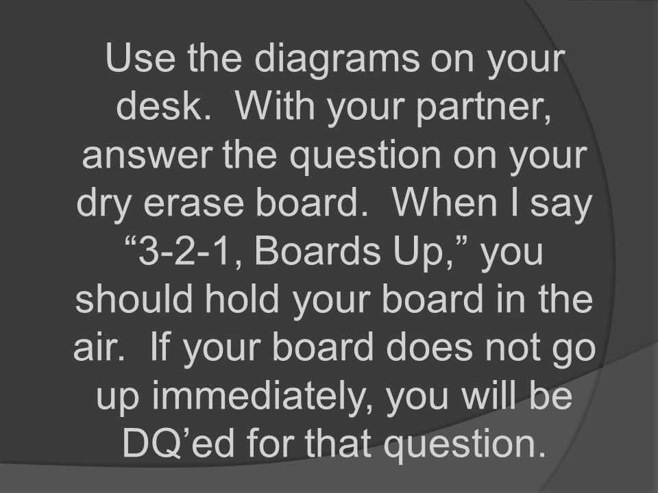 Use the diagrams on your desk
