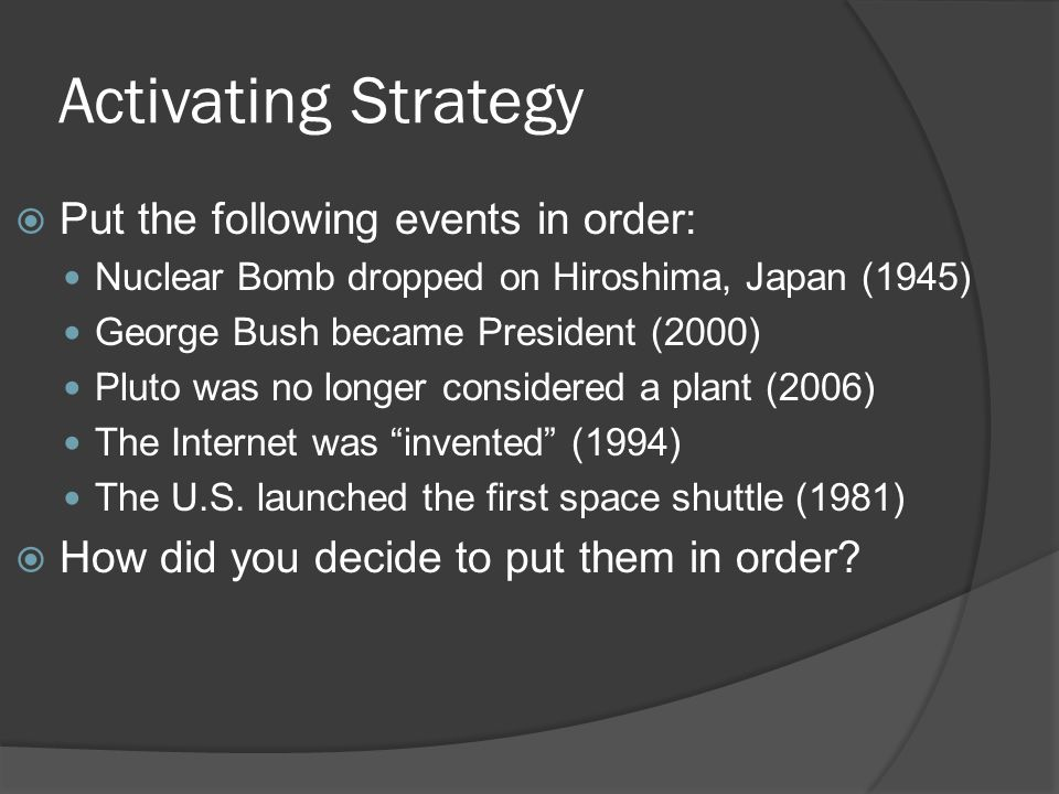Activating Strategy Put the following events in order: