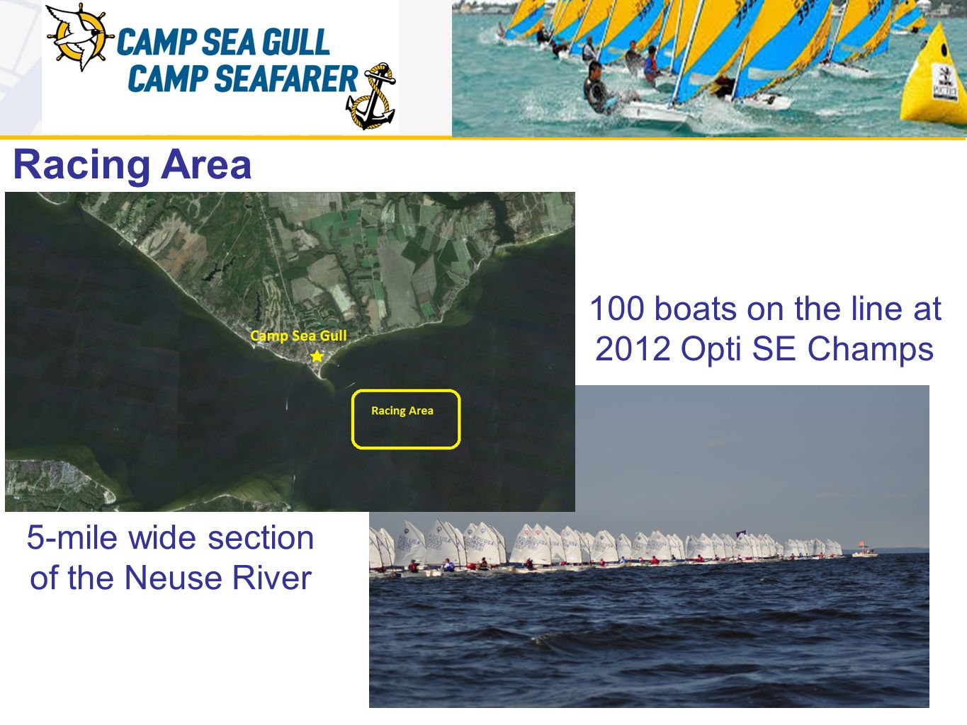 Racing Area 100 boats on the line at 2012 Opti SE Champs