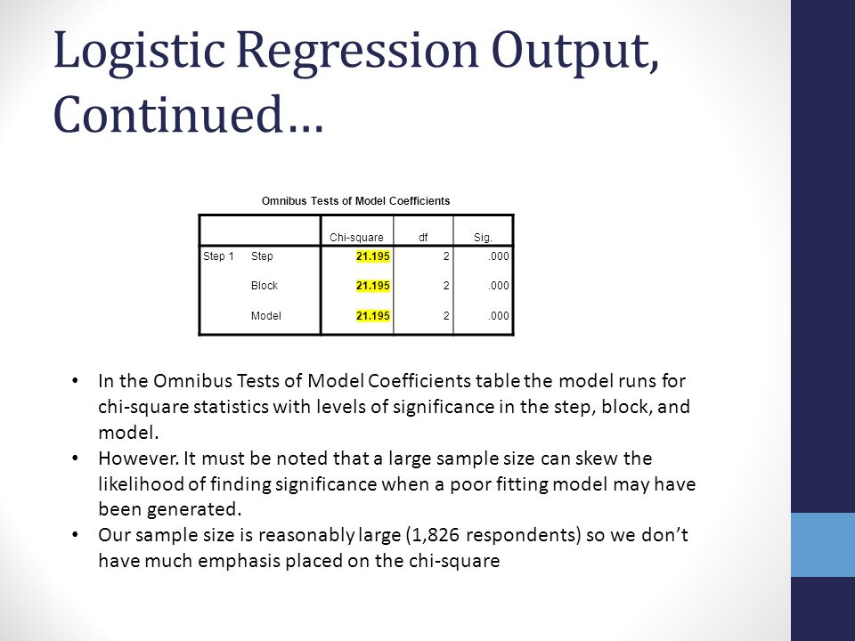 Logistic Regression Output, Continued…